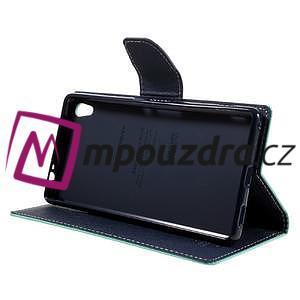 Diary PU kožené pouzdro na mobil Sony Xperia XA Ultra - azurové - 4