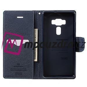 Diary PU kožené pouzdro na mobil Asus Zenfone 3 Deluxe - azurové - 4