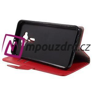 Leathy peněženkové pouzdro na Asus Zenfone 3 ZE520KL - červené - 4