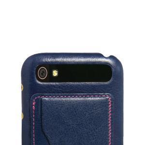 PU kožený kryt se stojánkem na BlackBerry Classic - modré - 4