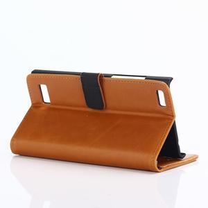 PU kožené peněženkové pouzdro na BlackBerry Leap - hnědé - 4