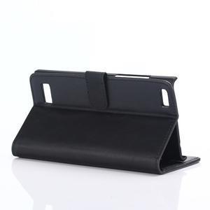 PU kožené peněženkové pouzdro na BlackBerry Leap - černé - 4