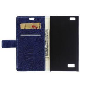 Croco style peněženkové pouzdro na BlackBerry Leap - tmavěmodré - 4