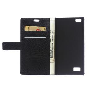 Croco style peněženkové pouzdro na BlackBerry Leap - černé - 4