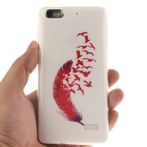 Gelový obal na mobil Honor 4C - ptačí peříčko - 4