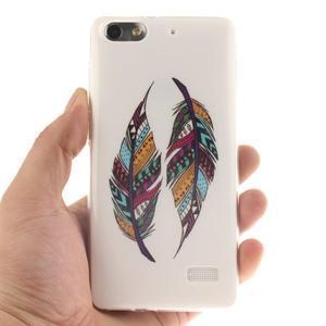 Gelový obal na mobil Honor 4C - barevná peříčka - 4