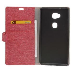 Textilní/koženkové pouzdro na Honor 5X - červené - 4