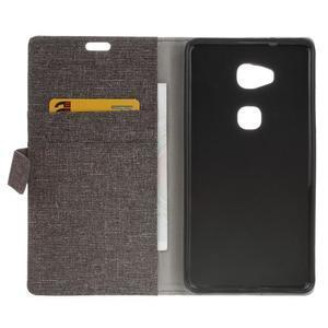 Textilní/koženkové pouzdro na Honor 5X - šedé - 4