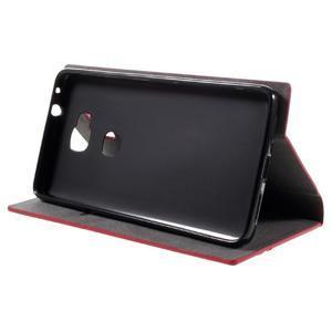 Klopové PU kožené pouzdro na Huawei Honor 5X - červené - 4