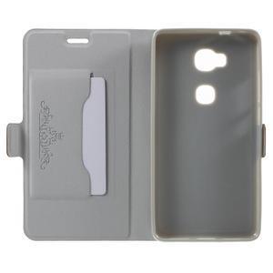 Peněženkové PU kožené pouzdro na mobil Honor 5X - hnědé - 4