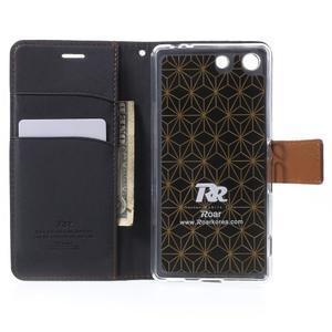 Wall PU kožené pouzdro na mobil Sony Xperia M5 - černé - 4