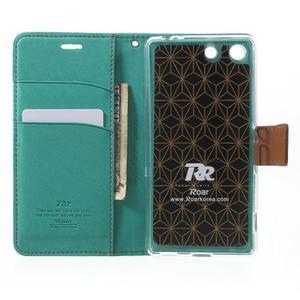 Wall PU kožené pouzdro na mobil Sony Xperia M5 - zelenomodré - 4