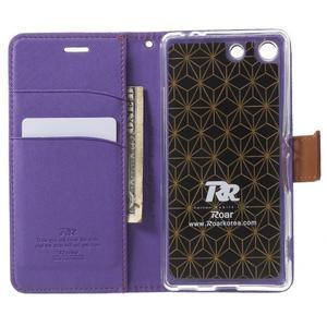 Wall PU kožené pouzdro na mobil Sony Xperia M5 - fialové - 4