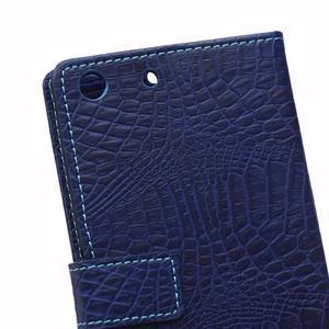 Peněženkové pouzdro s texturou krokodýlí kůže na Sony Xperia M5 - tmavědmodré - 4