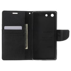 Canvas PU kožené / textilní pouzdro na Sony Xperia M5 - černé - 4