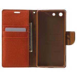 Canvas PU kožené / textilní pouzdro na Sony Xperia M5 - oranžové - 4