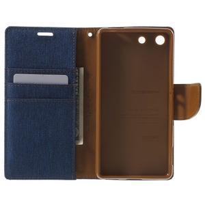 Canvas PU kožené / textilní pouzdro na Sony Xperia M5 - modré - 4