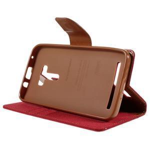 Canvas PU kožené/textilní pouzdro na Asus Zenfone Selfie ZD551KL - červené - 4