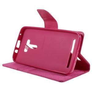 Canvas PU kožené/textilní pouzdro na Asus Zenfone Selfie ZD551KL - rose - 4