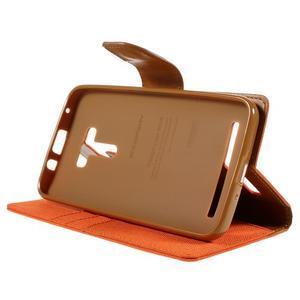 Canvas PU kožené/textilní pouzdro na Asus Zenfone Selfie ZD551KL - oranžové - 4