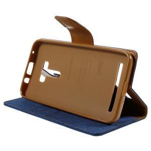 Canvas PU kožené/textilní pouzdro na Asus Zenfone Selfie ZD551KL - modré - 4