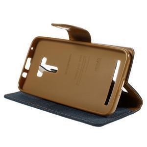 Canvas PU kožené/textilní pouzdro na Asus Zenfone Selfie ZD551KL - tmavěmodré - 4