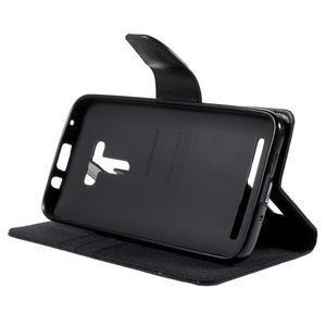 Canvas PU kožené/textilní pouzdro na Asus Zenfone Selfie ZD551KL - černé - 4
