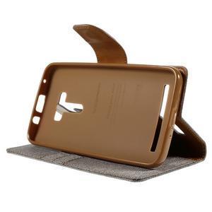 Canvas PU kožené/textilní pouzdro na Asus Zenfone Selfie ZD551KL - šedé - 4