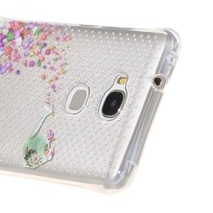 Transparentní gelový obal na Honor 5X - kytičky s motýlky - 4