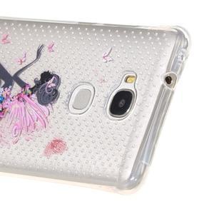 Transparentní gelový obal na Honor 5X - květinová víla - 4