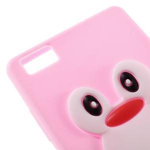 Tučňák silikonový obal na mobil Huawei P8 Lite - růžový - 4