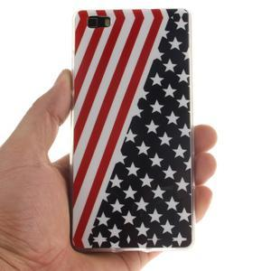 Flexi gelový obal na mobil Huawei P8 Lite - US vlajka - 4