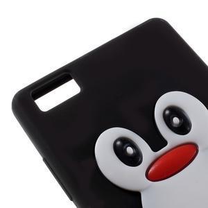 Tučňák silikonový obal na mobil Huawei P8 Lite - černý - 4