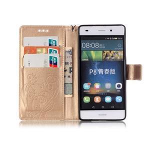 Magicfly PU kožené pouzdro na Huawei P8 Lite - zlaté - 4