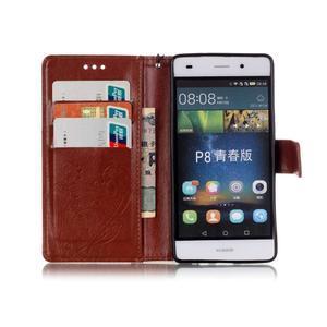 Magicfly PU kožené pouzdro na Huawei P8 Lite - hnědé - 4