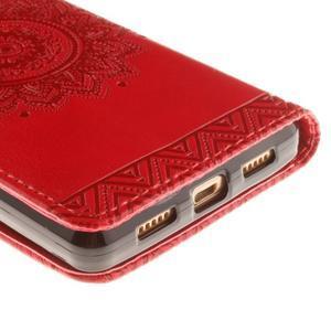 Mandala PU kožené pouzdro na mobil Huawei P8 Lite - červené - 4
