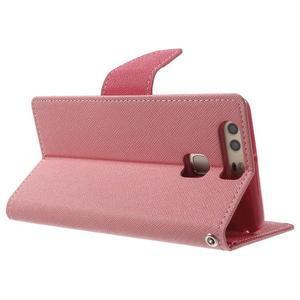 Diary PU kožené pouzdro na mobil Huawei P9 - růžové - 4