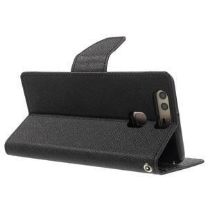 Diary PU kožené pouzdro na mobil Huawei P9 - černé - 4