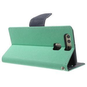 Diary PU kožené pouzdro na mobil Huawei P9 - azurové - 4