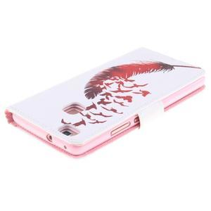 Knížkové PU kožené pouzdro na Huawei P9 Lite - ptačí peříčko - 4