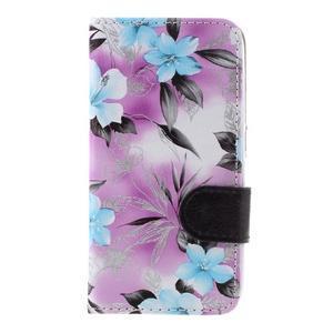 Květinové pouzdro na Huawei Y5 a Y560 - fialové pozadí - 4