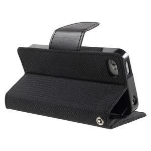 Canvas PU kožené/textilní pouzdro na iPhone 4 - černé - 4
