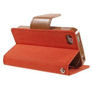 Canvas PU kožené/textilní pouzdro na iPhone 4 - oranžové - 4