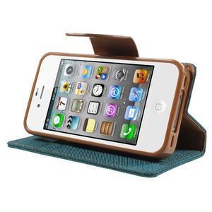 Canvas PU kožené/textilní pouzdro na iPhone 4 - zelenomodré - 4