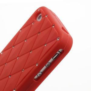 Diamonds silikonová obal na mobil iPhone 4 - červený - 4