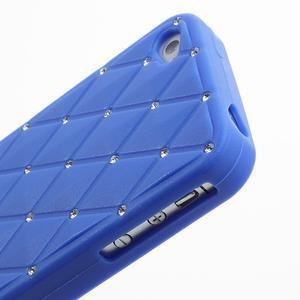 Diamonds silikonová obal na mobil iPhone 4 - modrý - 4