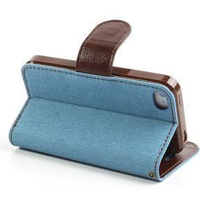 Jeans peněženkové pouzdro na iPhone 4 - světlemodré - 4