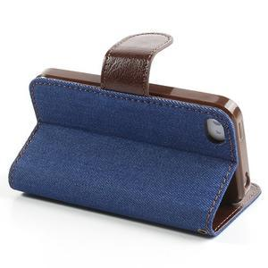 Jeans peněženkové pouzdro na iPhone 4 - modré - 4