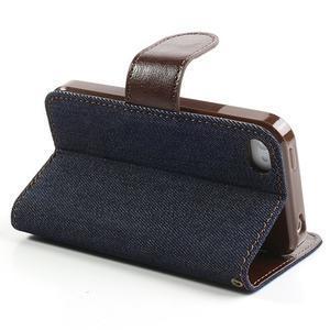 Jeans peněženkové pouzdro na iPhone 4 - černomodré - 4