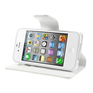Diary PU kožené knížkové pouzdro na iPhone 4 - bílé - 4